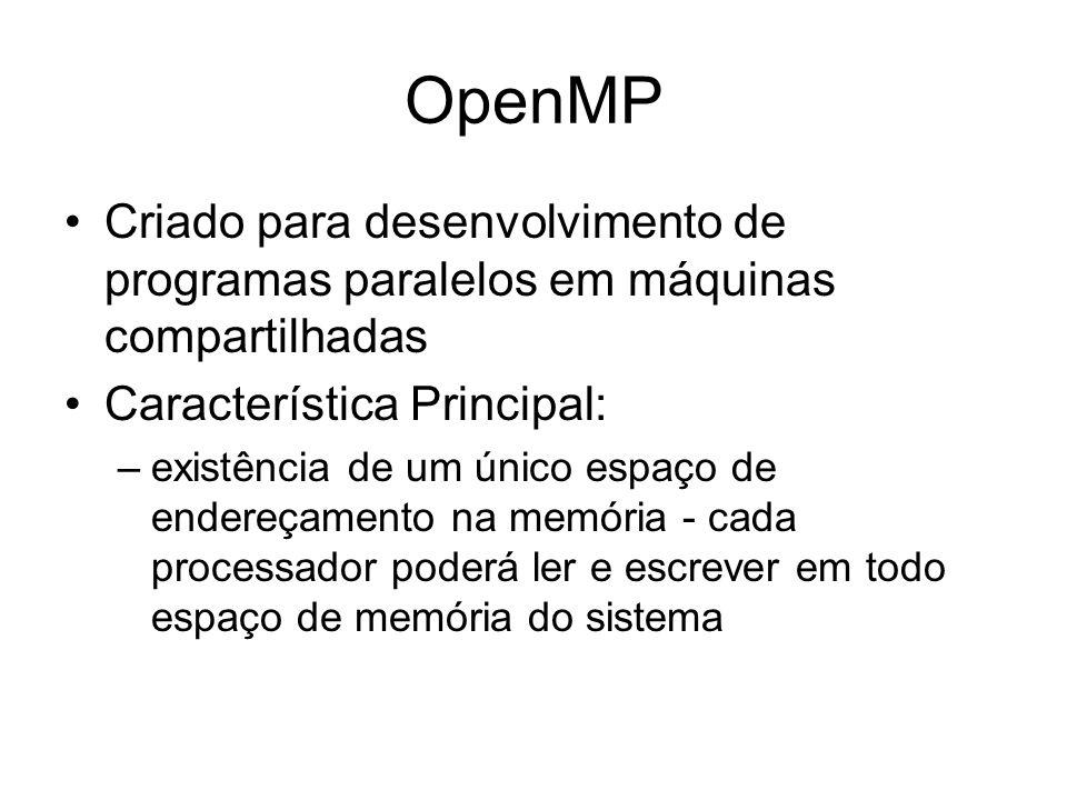 OpenMP Criado para desenvolvimento de programas paralelos em máquinas compartilhadas Característica Principal: –existência de um único espaço de ender