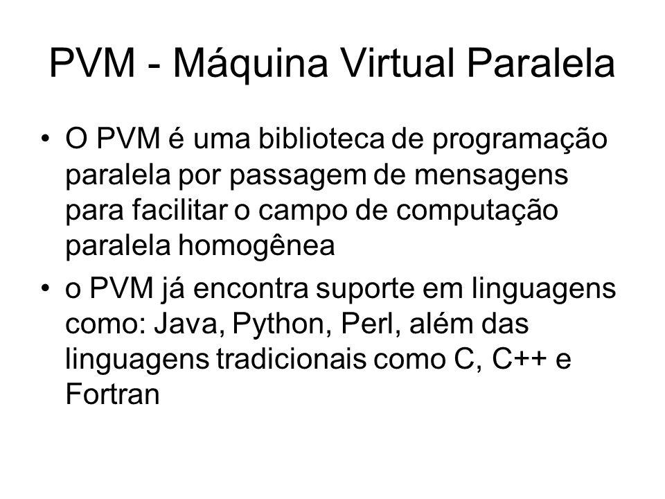 PVM - Máquina Virtual Paralela O PVM é uma biblioteca de programação paralela por passagem de mensagens para facilitar o campo de computação paralela