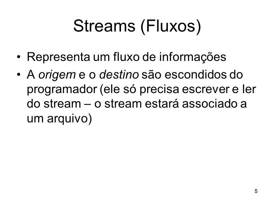5 Streams (Fluxos) Representa um fluxo de informações A origem e o destino são escondidos do programador (ele só precisa escrever e ler do stream – o stream estará associado a um arquivo)