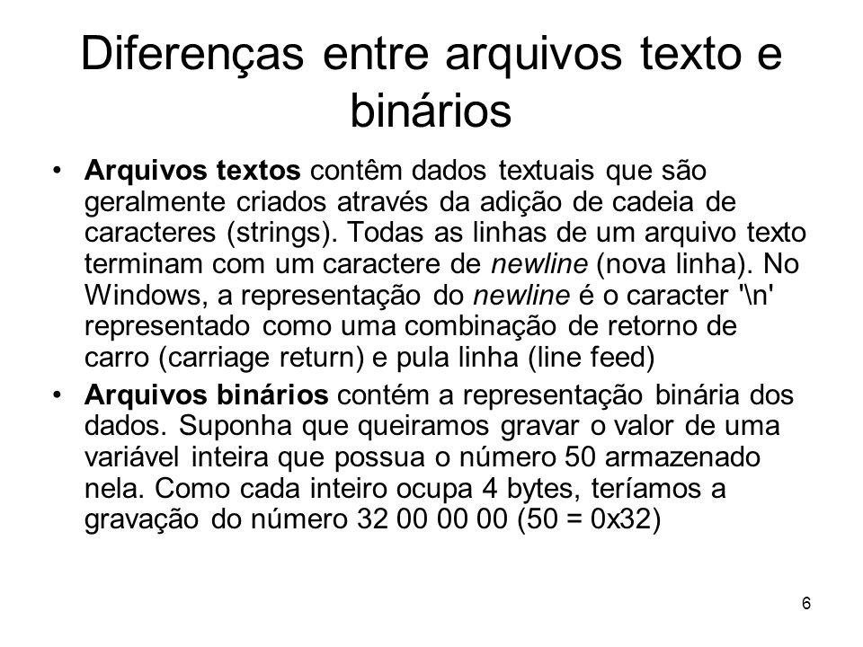 6 Diferenças entre arquivos texto e binários Arquivos textos contêm dados textuais que são geralmente criados através da adição de cadeia de caracteres (strings).
