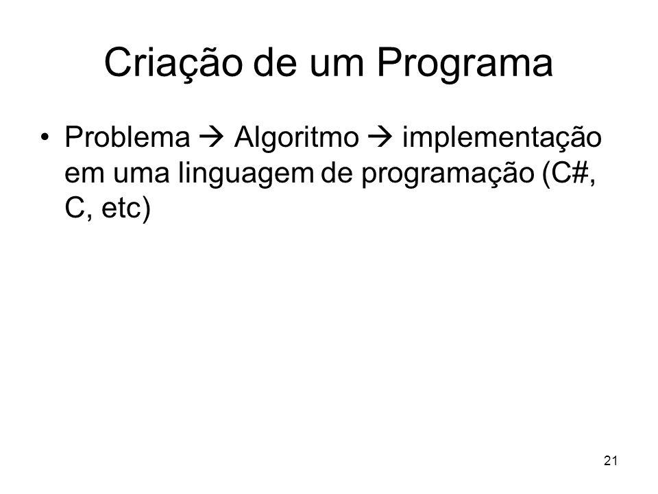 21 Criação de um Programa Problema Algoritmo implementação em uma linguagem de programação (C#, C, etc)