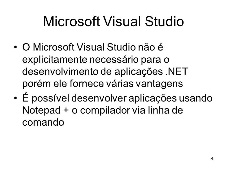 4 Microsoft Visual Studio O Microsoft Visual Studio não é explicitamente necessário para o desenvolvimento de aplicações.NET porém ele fornece várias