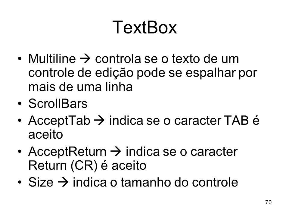 70 TextBox Multiline controla se o texto de um controle de edição pode se espalhar por mais de uma linha ScrollBars AcceptTab indica se o caracter TAB