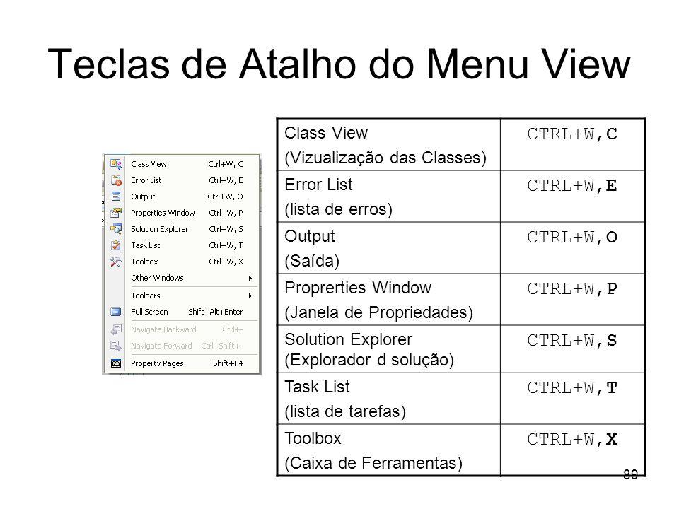 89 Teclas de Atalho do Menu View Class View (Vizualização das Classes) CTRL+W,C Error List (lista de erros) CTRL+W,E Output (Saída) CTRL+W,O Proprerti
