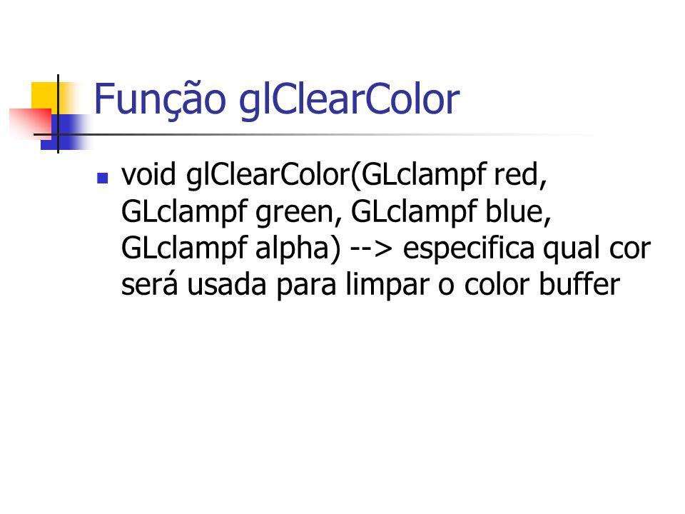 Função glClearColor void glClearColor(GLclampf red, GLclampf green, GLclampf blue, GLclampf alpha) --> especifica qual cor será usada para limpar o co