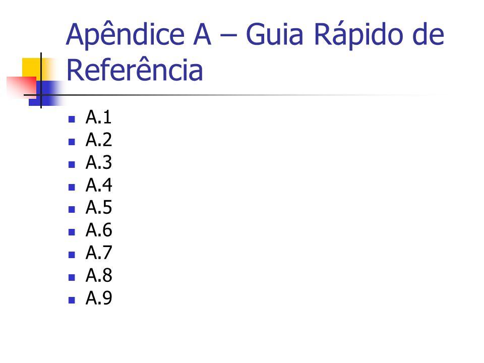 Apêndice A – Guia Rápido de Referência A.1 A.2 A.3 A.4 A.5 A.6 A.7 A.8 A.9