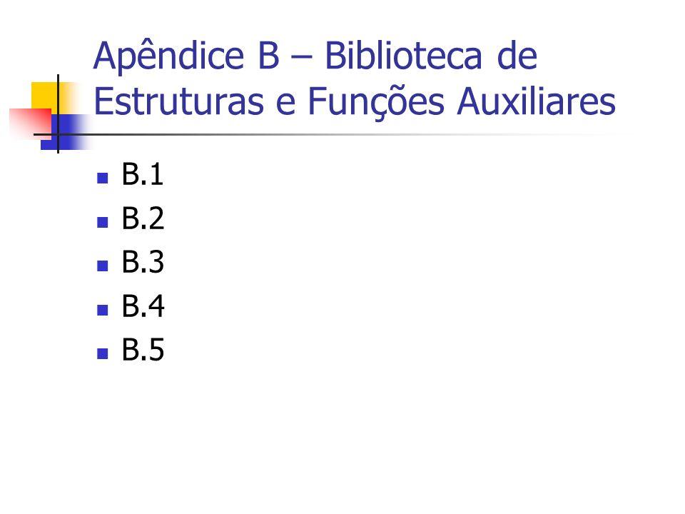Apêndice B – Biblioteca de Estruturas e Funções Auxiliares B.1 B.2 B.3 B.4 B.5