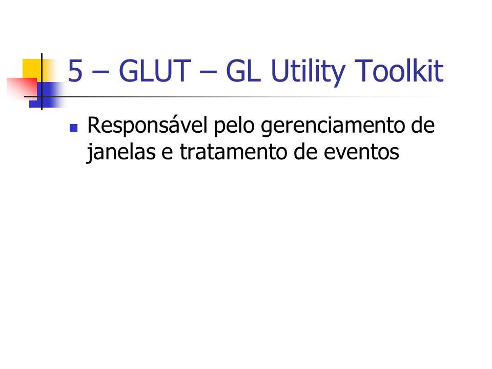 5 – GLUT – GL Utility Toolkit Responsável pelo gerenciamento de janelas e tratamento de eventos