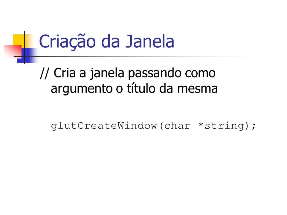 Criação da Janela // Cria a janela passando como argumento o título da mesma glutCreateWindow(char *string);
