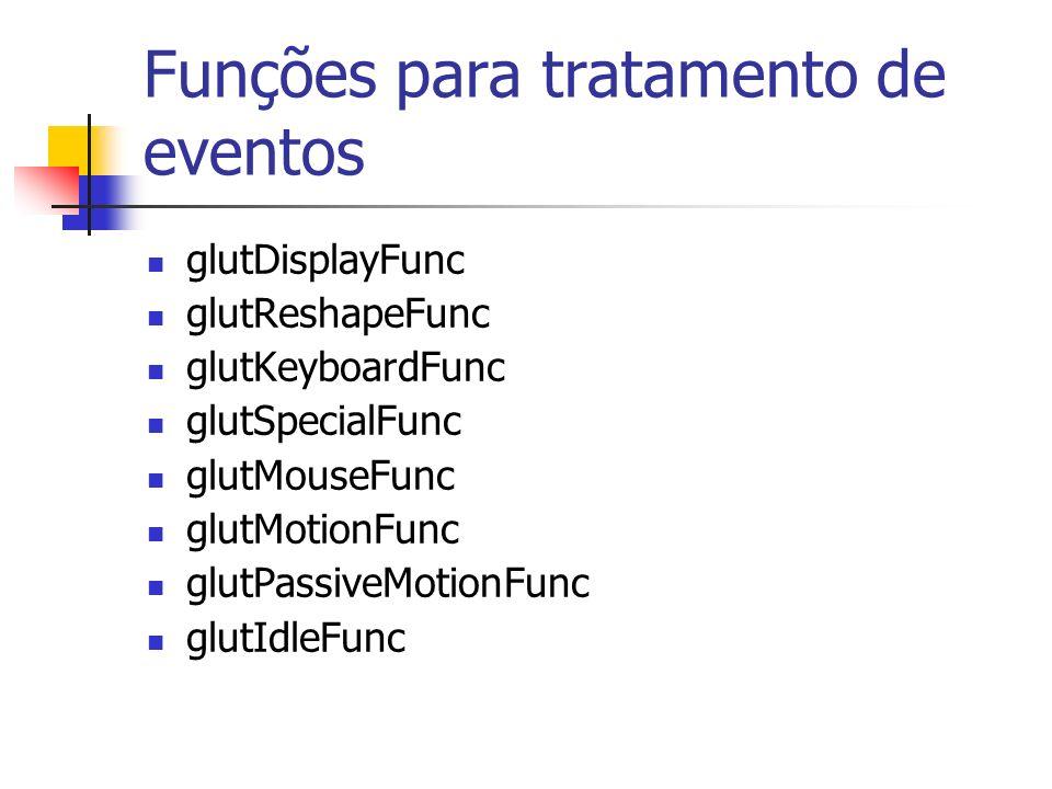 Funções para tratamento de eventos glutDisplayFunc glutReshapeFunc glutKeyboardFunc glutSpecialFunc glutMouseFunc glutMotionFunc glutPassiveMotionFunc