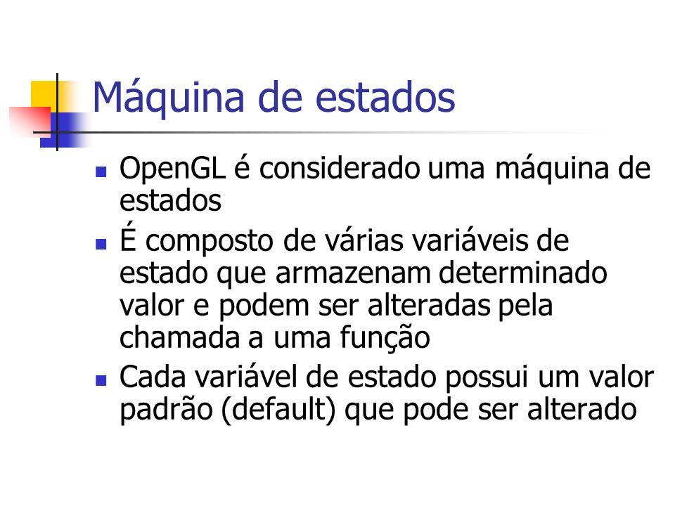 Máquina de estados OpenGL é considerado uma máquina de estados É composto de várias variáveis de estado que armazenam determinado valor e podem ser al