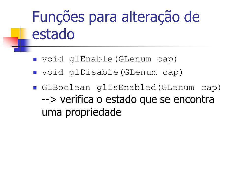 Funções para alteração de estado void glEnable(GLenum cap) void glDisable(GLenum cap) GLBoolean glIsEnabled(GLenum cap) --> verifica o estado que se e