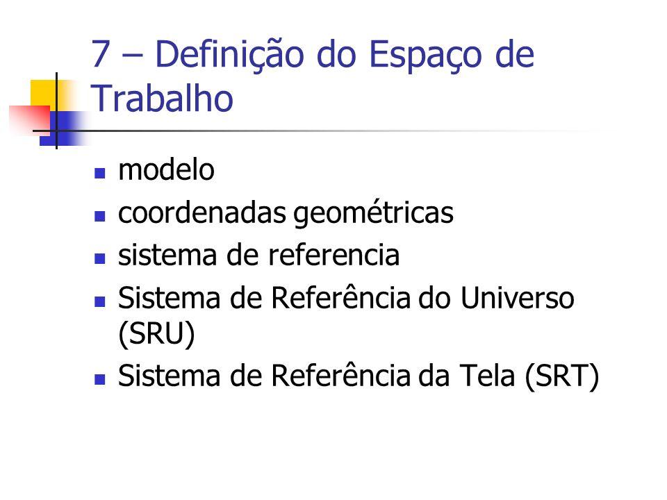 7 – Definição do Espaço de Trabalho modelo coordenadas geométricas sistema de referencia Sistema de Referência do Universo (SRU) Sistema de Referência