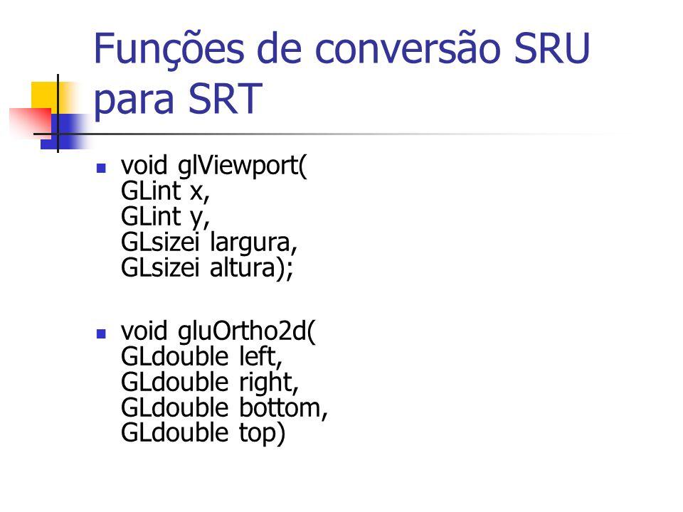 Funções de conversão SRU para SRT void glViewport( GLint x, GLint y, GLsizei largura, GLsizei altura); void gluOrtho2d( GLdouble left, GLdouble right,
