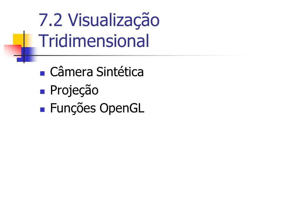 7.2 Visualização Tridimensional Câmera Sintética Projeção Funções OpenGL