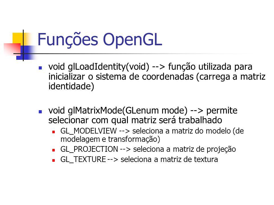 Funções OpenGL void glLoadIdentity(void) --> função utilizada para inicializar o sistema de coordenadas (carrega a matriz identidade) void glMatrixMod