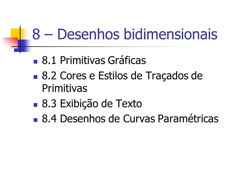 8 – Desenhos bidimensionais 8.1 Primitivas Gráficas 8.2 Cores e Estilos de Traçados de Primitivas 8.3 Exibição de Texto 8.4 Desenhos de Curvas Paramét