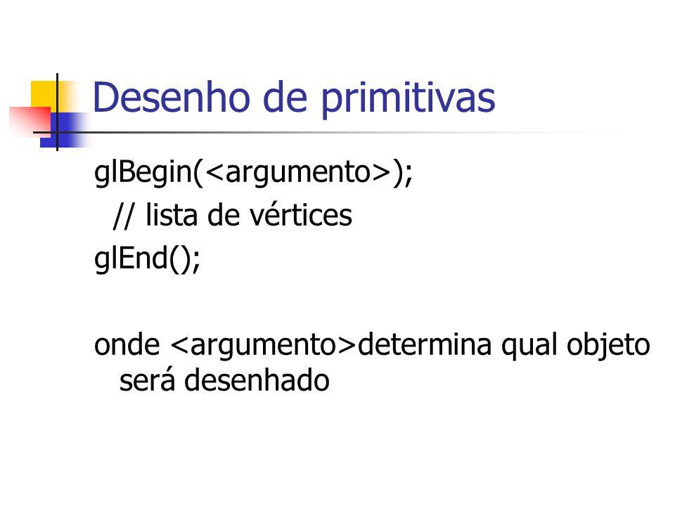 Desenho de primitivas glBegin( ); // lista de vértices glEnd(); onde determina qual objeto será desenhado