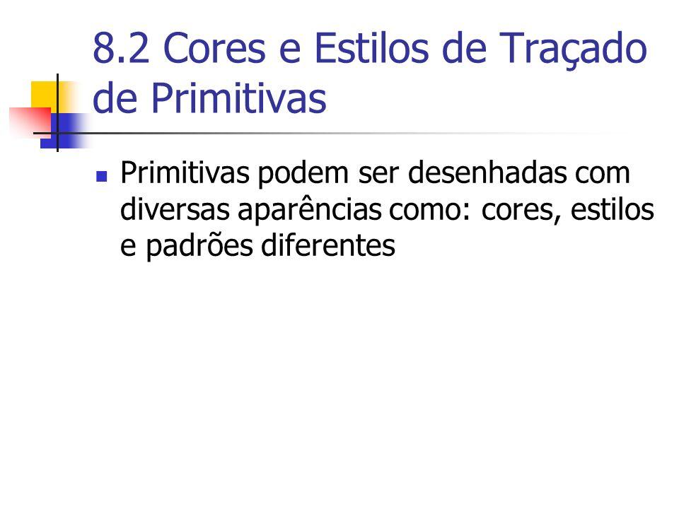 8.2 Cores e Estilos de Traçado de Primitivas Primitivas podem ser desenhadas com diversas aparências como: cores, estilos e padrões diferentes