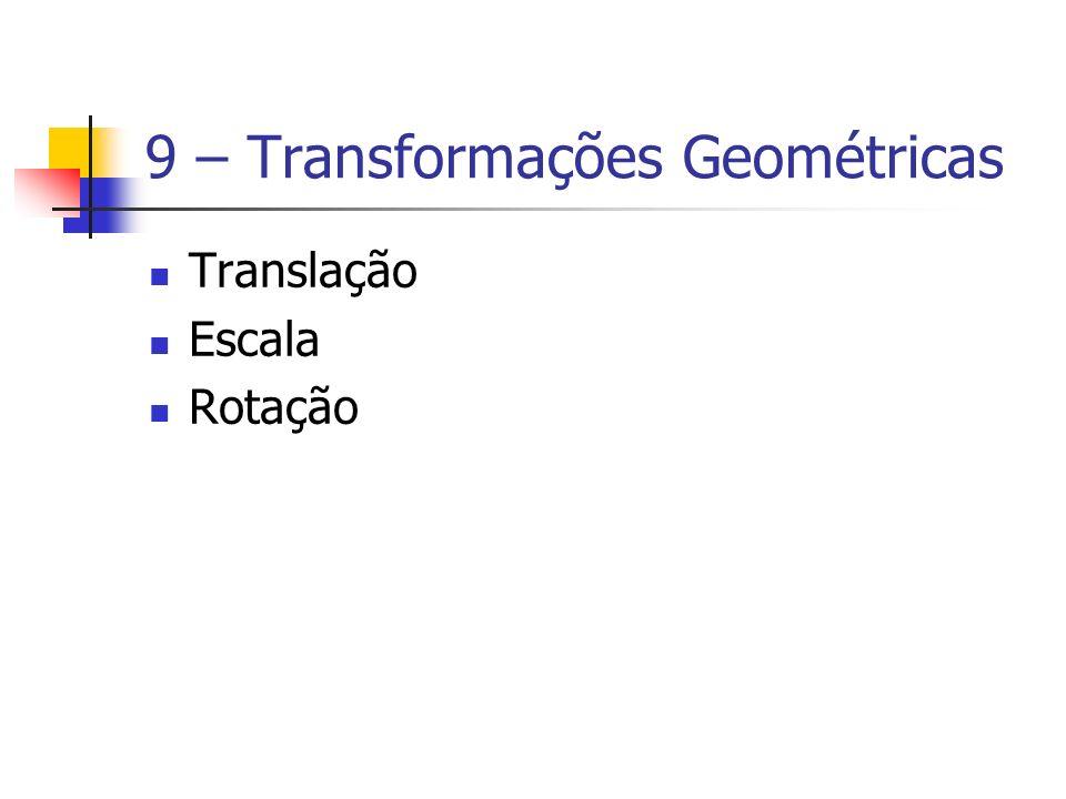 9 – Transformações Geométricas Translação Escala Rotação
