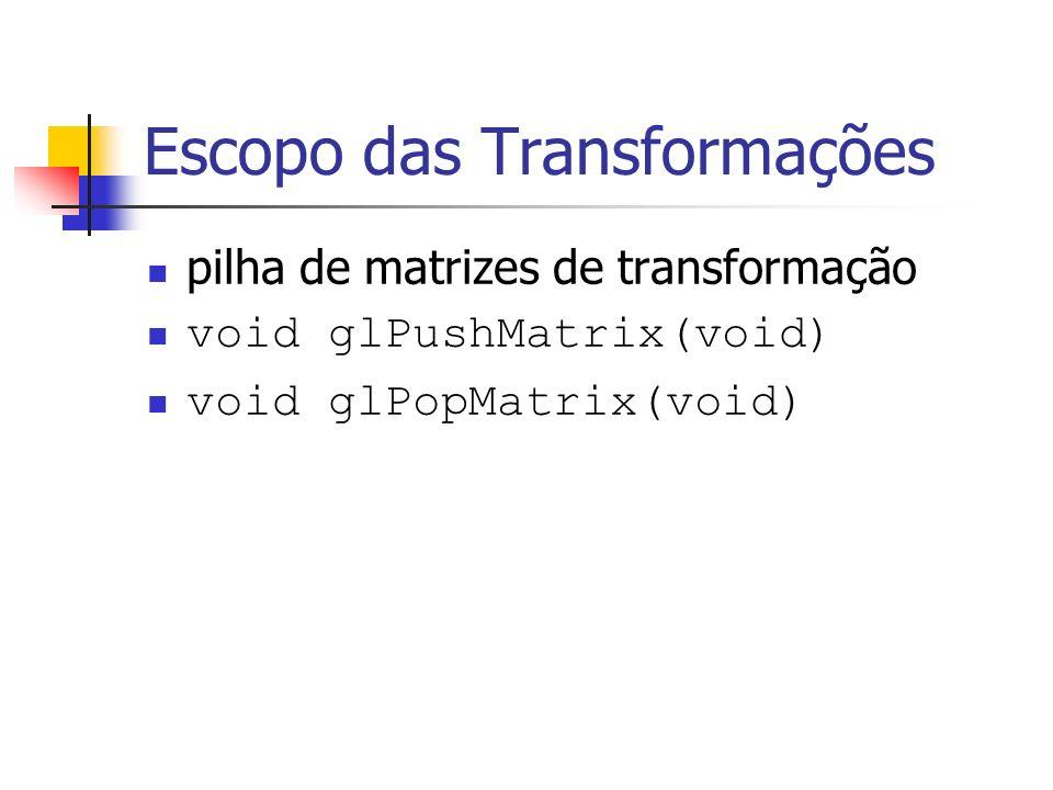 Escopo das Transformações pilha de matrizes de transformação void glPushMatrix(void) void glPopMatrix(void)