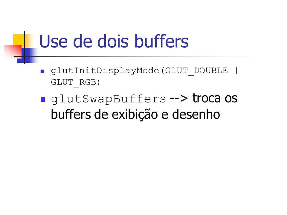 Use de dois buffers glutInitDisplayMode(GLUT_DOUBLE | GLUT_RGB) glutSwapBuffers --> troca os buffers de exibição e desenho