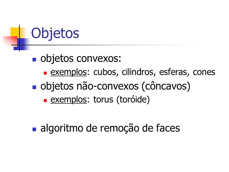 Objetos objetos convexos: exemplos: cubos, cilindros, esferas, cones objetos não-convexos (côncavos) exemplos: torus (toróide) algoritmo de remoção de