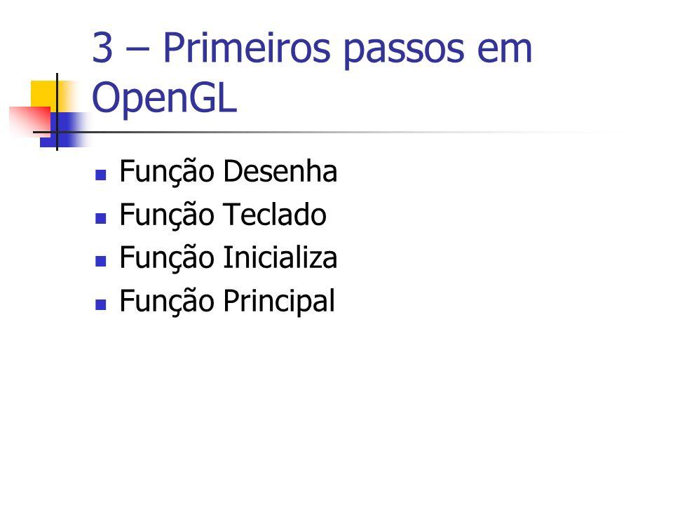 3 – Primeiros passos em OpenGL Função Desenha Função Teclado Função Inicializa Função Principal