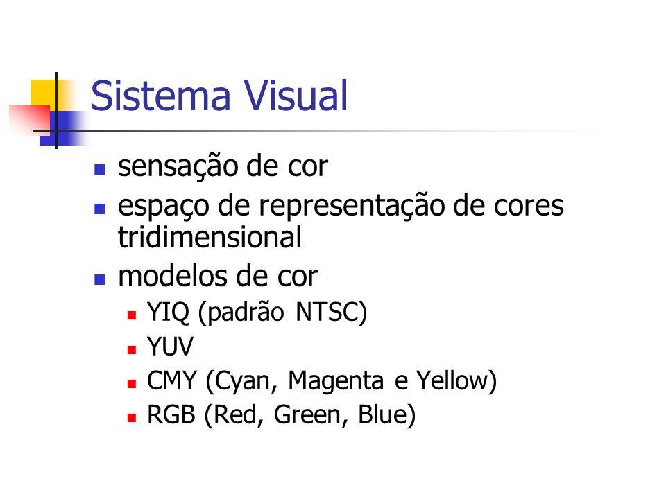 Sistema Visual sensação de cor espaço de representação de cores tridimensional modelos de cor YIQ (padrão NTSC) YUV CMY (Cyan, Magenta e Yellow) RGB (