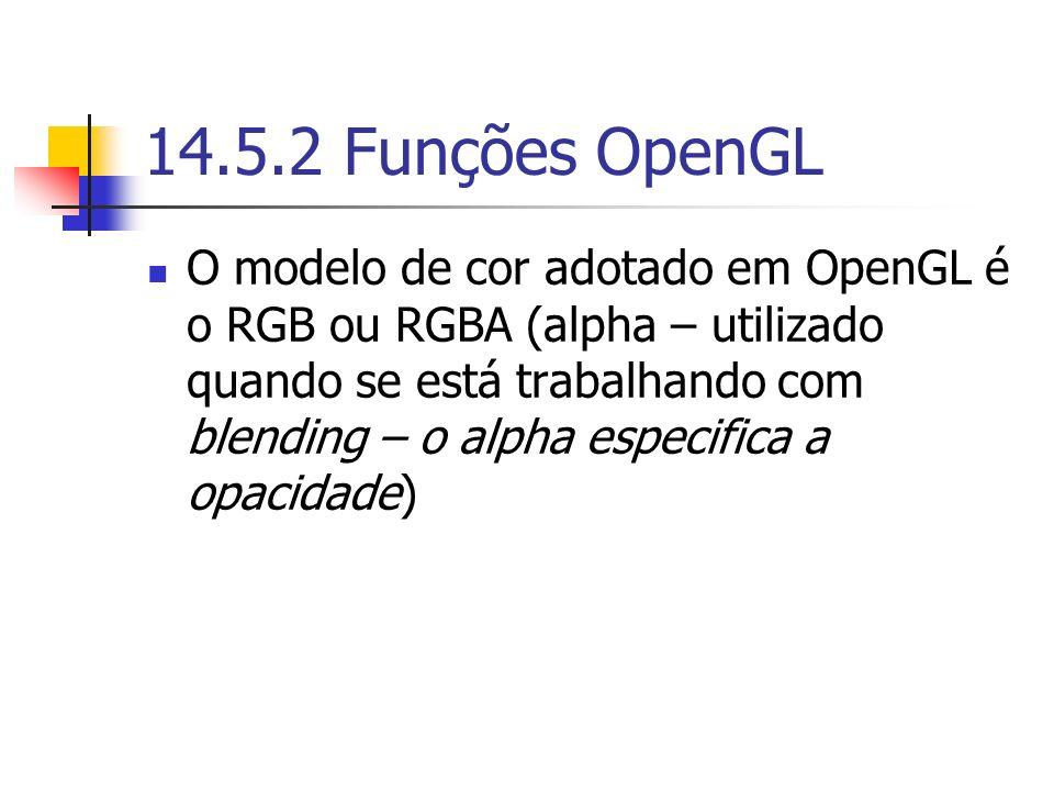 14.5.2 Funções OpenGL O modelo de cor adotado em OpenGL é o RGB ou RGBA (alpha – utilizado quando se está trabalhando com blending – o alpha especific