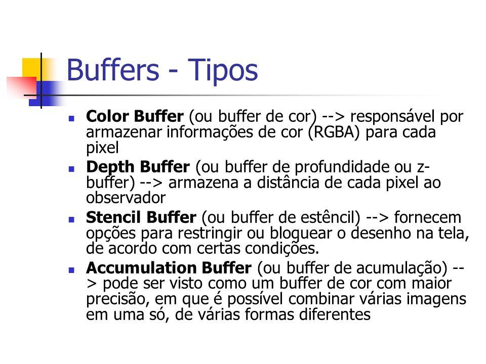 Buffers - Tipos Color Buffer (ou buffer de cor) --> responsável por armazenar informações de cor (RGBA) para cada pixel Depth Buffer (ou buffer de pro