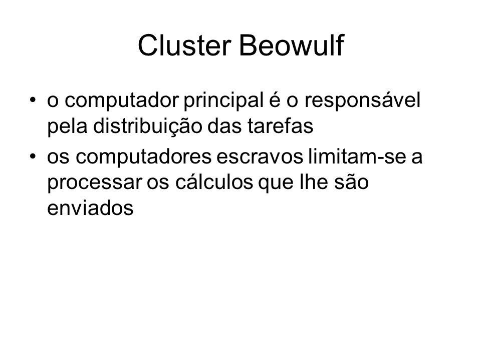 Cluster Beowulf o computador principal é o responsável pela distribuição das tarefas os computadores escravos limitam-se a processar os cálculos que l