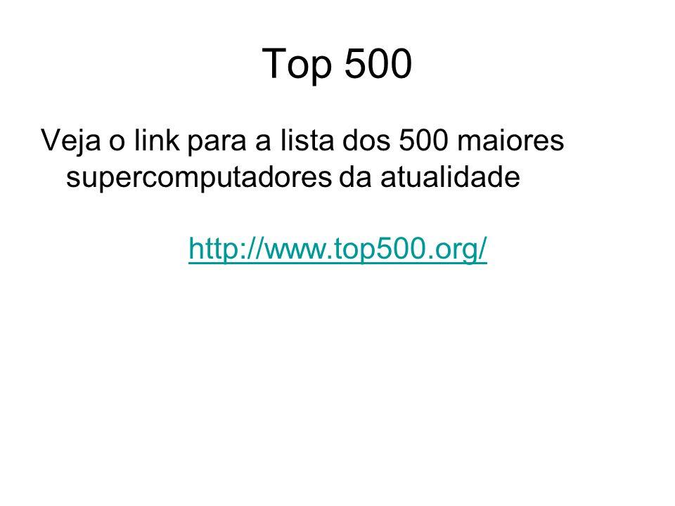 Top 500 Veja o link para a lista dos 500 maiores supercomputadores da atualidade http://www.top500.org/
