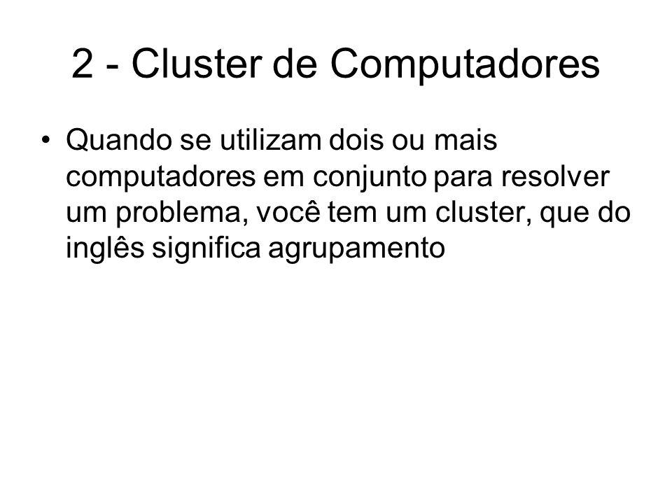Cluster Beowulf Um cluster Beowulf é construído de vários nós escravos (back-end) controlados por um computador principal (front-end), ao qual se tem acesso direto, ligados por uma rede fast ethernet e fazendo um gateway entre o cluster e uma rede local (LAN)
