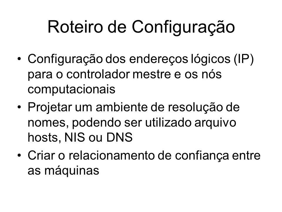 Roteiro de Configuração Configuração dos endereços lógicos (IP) para o controlador mestre e os nós computacionais Projetar um ambiente de resolução de