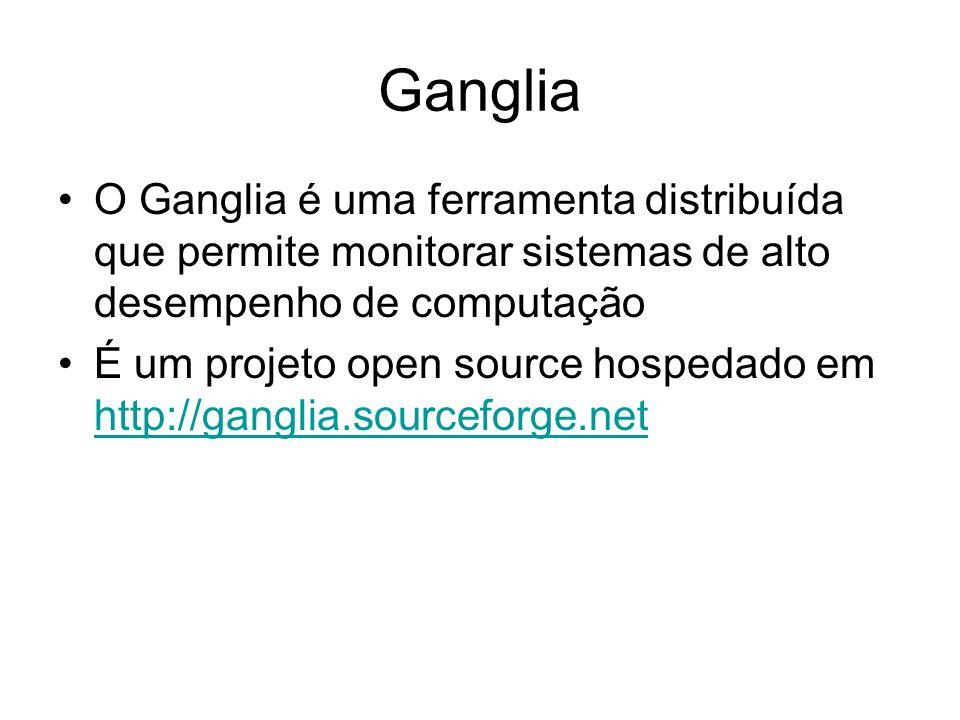 Ganglia O Ganglia é uma ferramenta distribuída que permite monitorar sistemas de alto desempenho de computação É um projeto open source hospedado em h