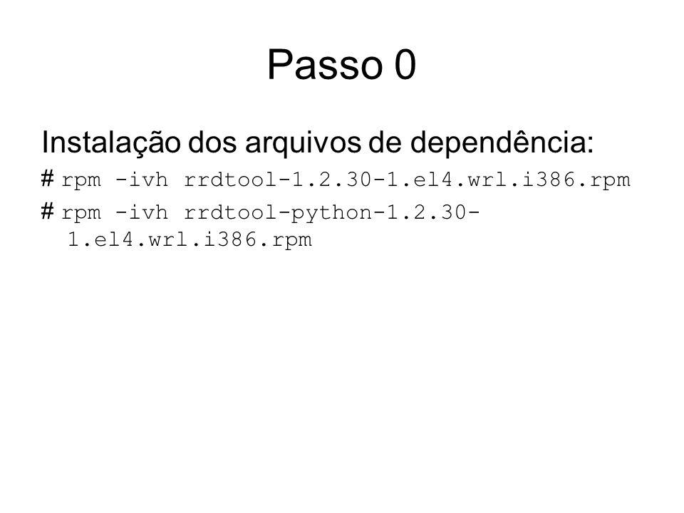 Passo 0 Instalação dos arquivos de dependência: # rpm -ivh rrdtool-1.2.30-1.el4.wrl.i386.rpm # rpm -ivh rrdtool-python-1.2.30- 1.el4.wrl.i386.rpm