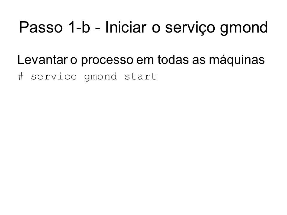Passo 1-b - Iniciar o serviço gmond Levantar o processo em todas as máquinas # service gmond start