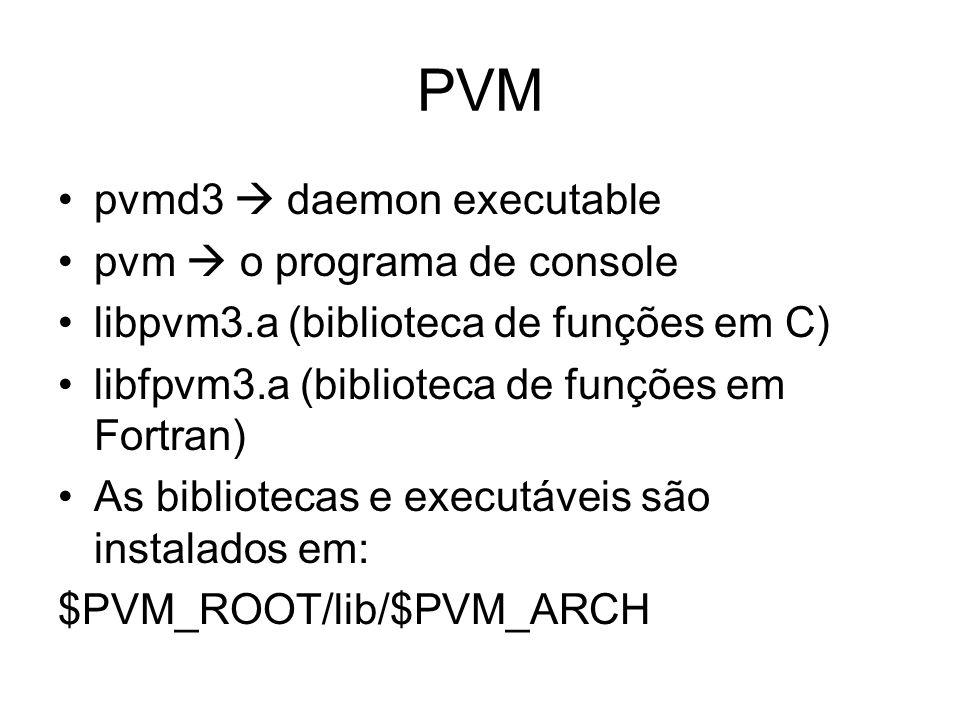 PVM pvmd3 daemon executable pvm o programa de console libpvm3.a (biblioteca de funções em C) libfpvm3.a (biblioteca de funções em Fortran) As bibliote