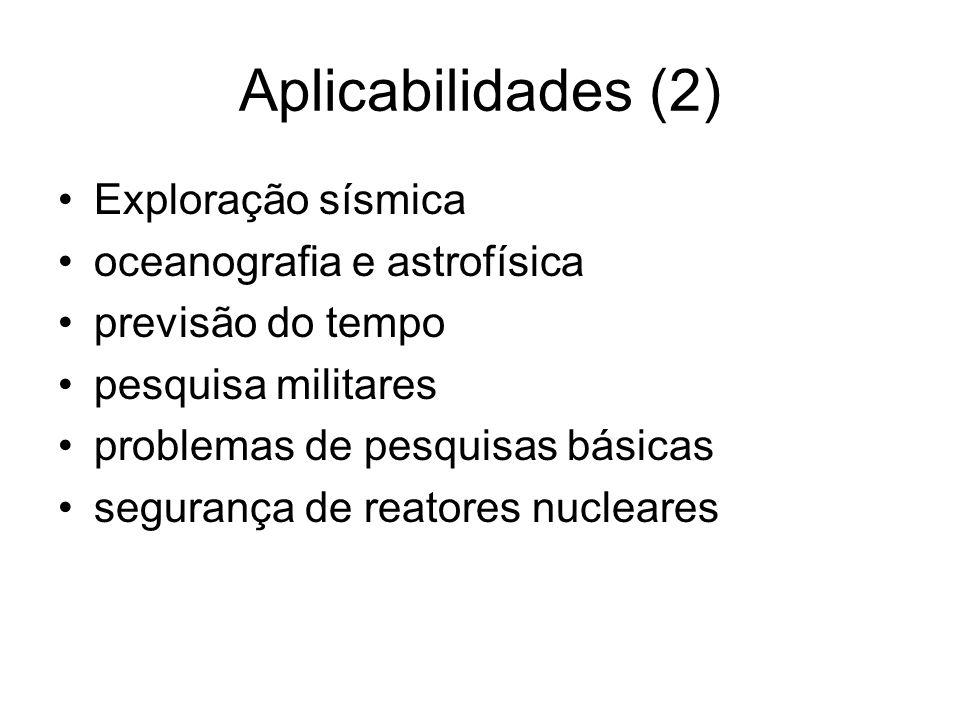 Aplicabilidades (2) Exploração sísmica oceanografia e astrofísica previsão do tempo pesquisa militares problemas de pesquisas básicas segurança de rea
