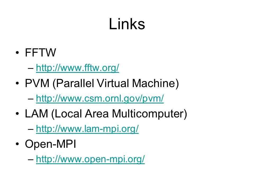 Links FFTW –http://www.fftw.org/http://www.fftw.org/ PVM (Parallel Virtual Machine) –http://www.csm.ornl.gov/pvm/http://www.csm.ornl.gov/pvm/ LAM (Loc
