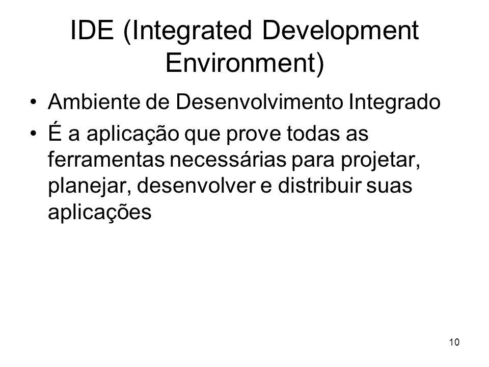 10 IDE (Integrated Development Environment) Ambiente de Desenvolvimento Integrado É a aplicação que prove todas as ferramentas necessárias para projet