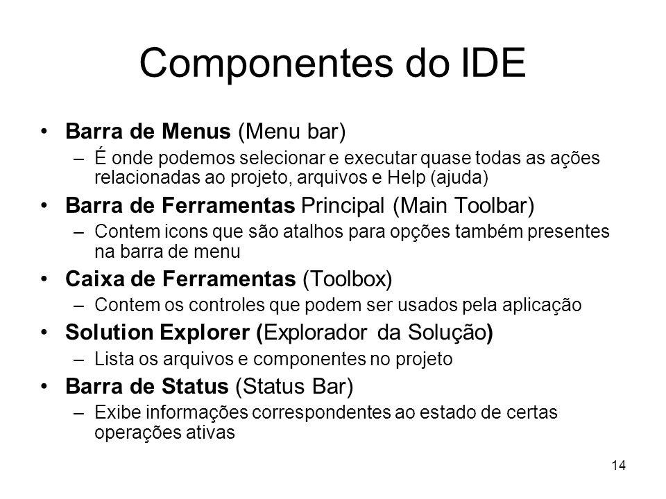 14 Componentes do IDE Barra de Menus (Menu bar) –É onde podemos selecionar e executar quase todas as ações relacionadas ao projeto, arquivos e Help (a