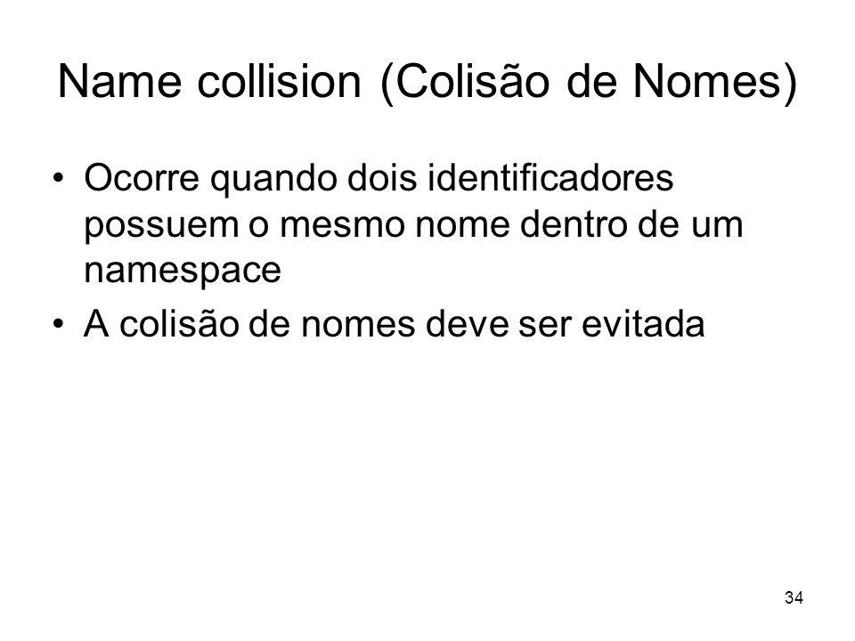 34 Name collision (Colisão de Nomes) Ocorre quando dois identificadores possuem o mesmo nome dentro de um namespace A colisão de nomes deve ser evitad