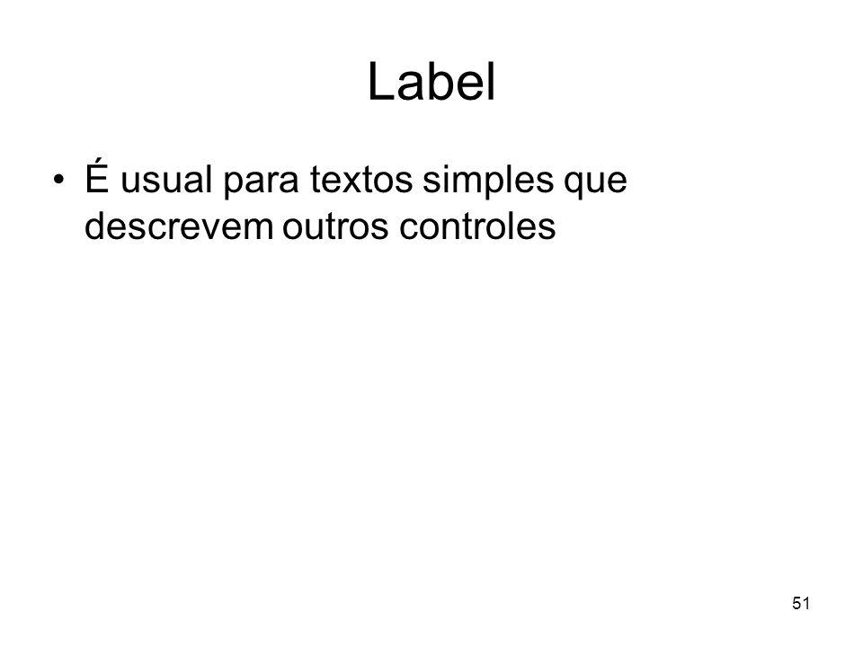 51 Label É usual para textos simples que descrevem outros controles