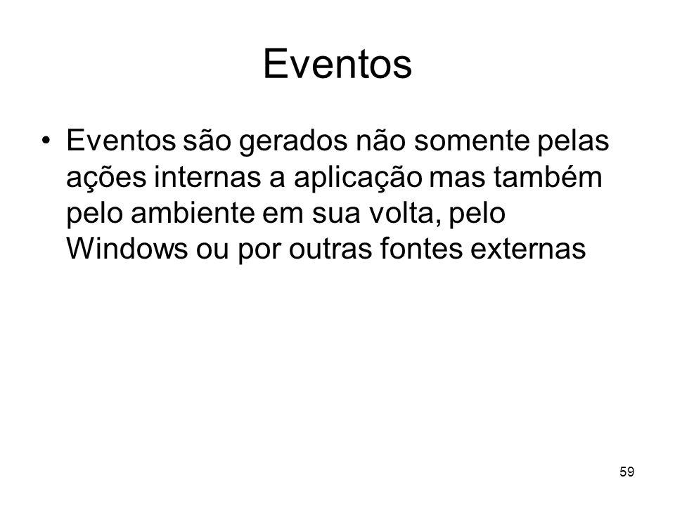 59 Eventos Eventos são gerados não somente pelas ações internas a aplicação mas também pelo ambiente em sua volta, pelo Windows ou por outras fontes e