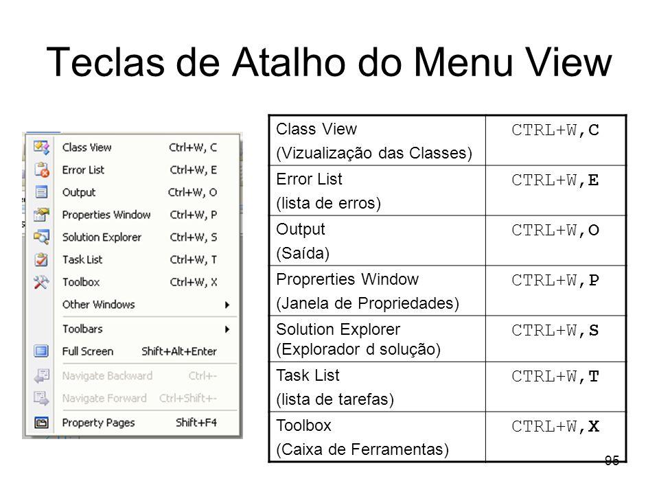 95 Teclas de Atalho do Menu View Class View (Vizualização das Classes) CTRL+W,C Error List (lista de erros) CTRL+W,E Output (Saída) CTRL+W,O Proprerti