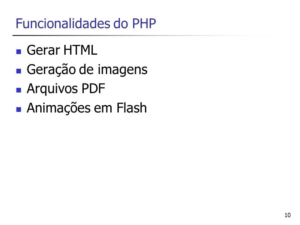 10 Funcionalidades do PHP Gerar HTML Geração de imagens Arquivos PDF Animações em Flash