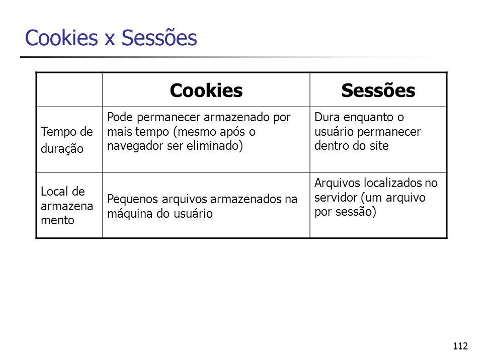 112 Cookies x Sessões CookiesSessões Tempo de duração Pode permanecer armazenado por mais tempo (mesmo após o navegador ser eliminado) Dura enquanto o