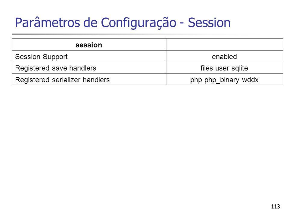 113 Parâmetros de Configuração - Session session Session Supportenabled Registered save handlersfiles user sqlite Registered serializer handlersphp ph